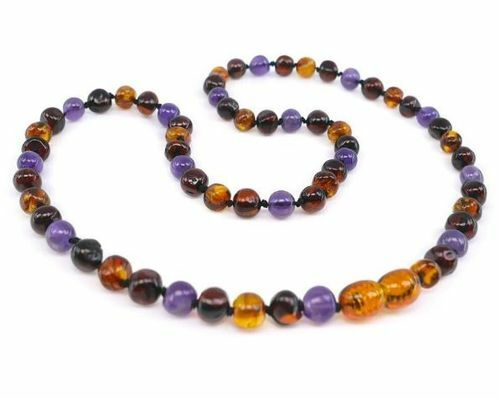 Amber Necklace Made of Baltic Amber and and Amethyst
