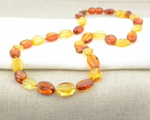 Amber Necklace Made of Honey and Cognac Baltic Amber