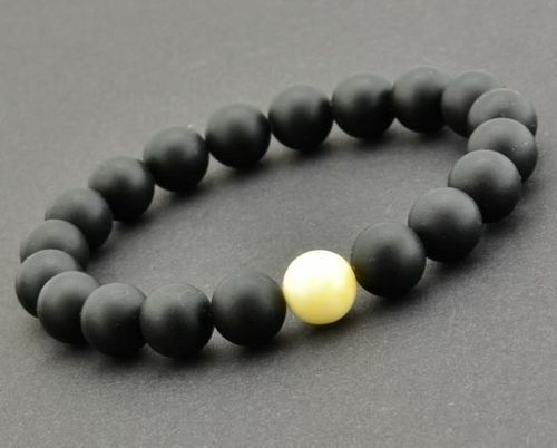 Amber Bracelet Made of Black and Butterscotch Baltic Amber