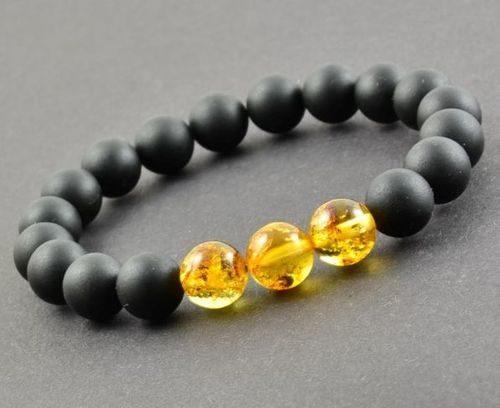 Men's Beaded Bracelet Made of Black and Lemon Amber