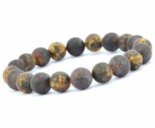 Beaded Bracelet for Guys Made of Precious Healing Baltic Amber