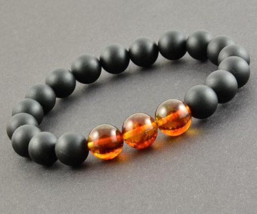 Mens Beaded Bracelet Made of Precious Healing Baltic Amber