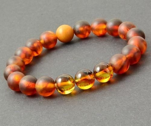 Men's Beaded Bracelet Made of Matte and Polished Baltic Amber