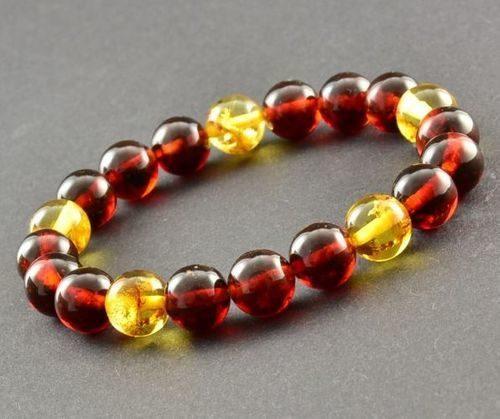 Men's Beaded Bracelet Made of Dark Cognac and Lemon Amber