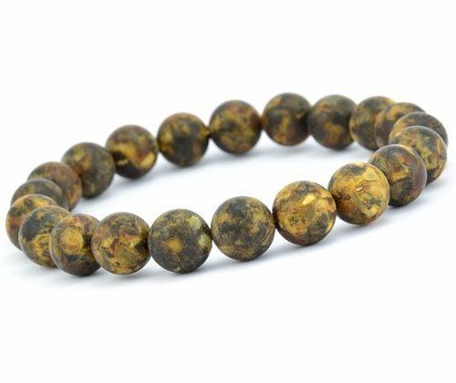 Men's Beaded Bracelet Made of Matte Amazing Baltic Amber