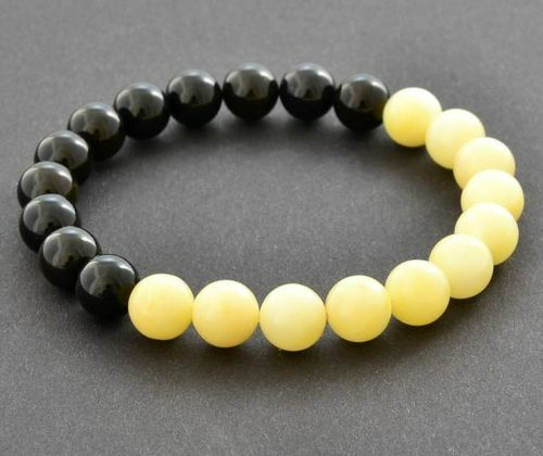 Men's Beaded Bracelet Made of Black and Butterscotch Amber