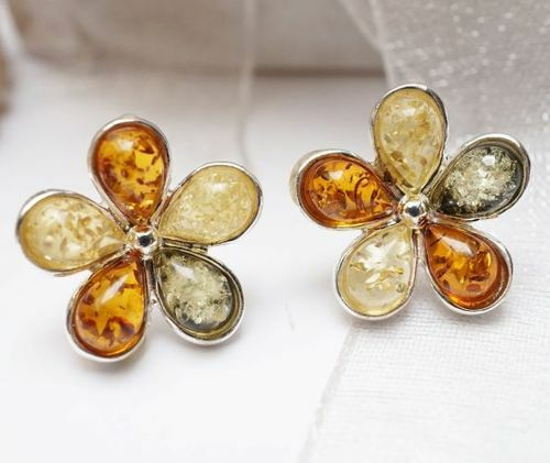Amber Flower Stud Earrings - SOLD OUT