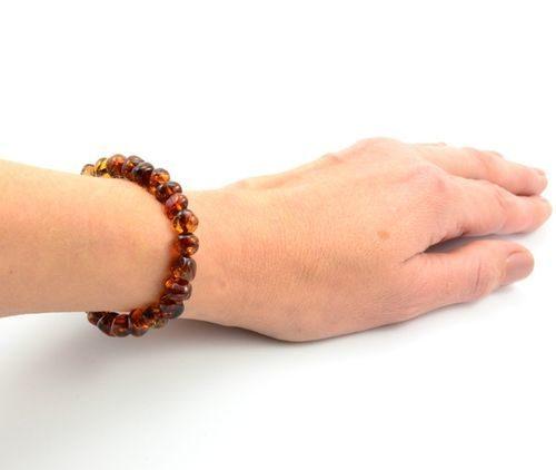Amber Healing Bracelet Made of Dark Cognac Baltic Amber