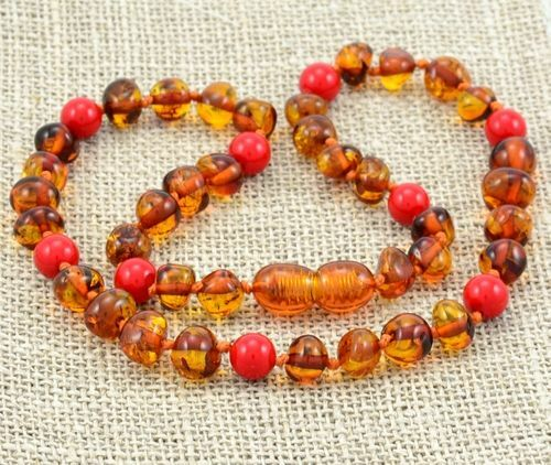Children's Amber Necklace Made of Baltic Amber and Jadeite