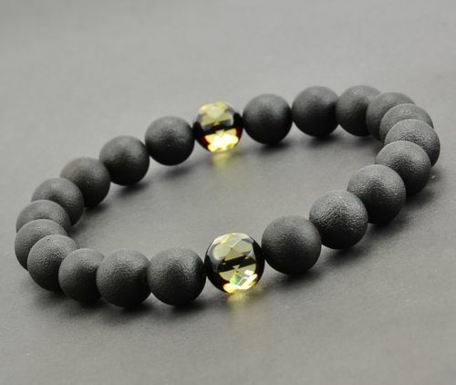 Men's Beaded Bracelet Handmade of Amazing Healing Amber