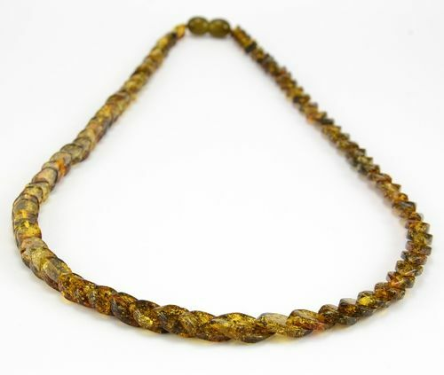 Green Amber Necklace Made of Overlapping Baltic Amber Pieces
