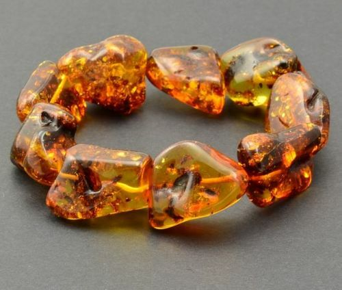 Amber Bracelet Made of Large Free Form Baltic Amber Beads