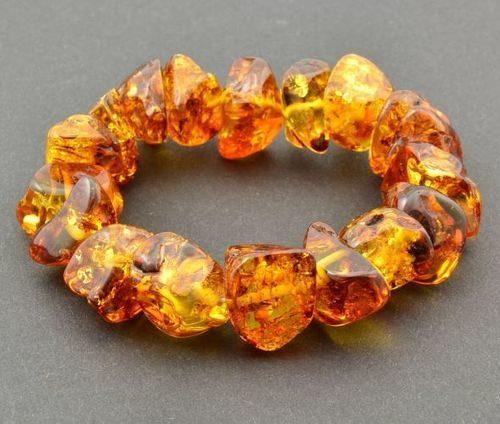 Amber Bracelet Made of Freeform Baltic Amber