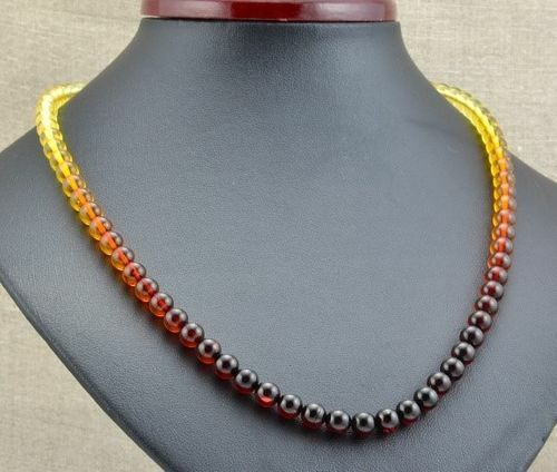 Rainbow Amber Necklace Made of Precious Healing Baltic Amber