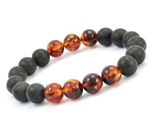 Beaded Bracelet for Men Made of Black and Cognac Amber