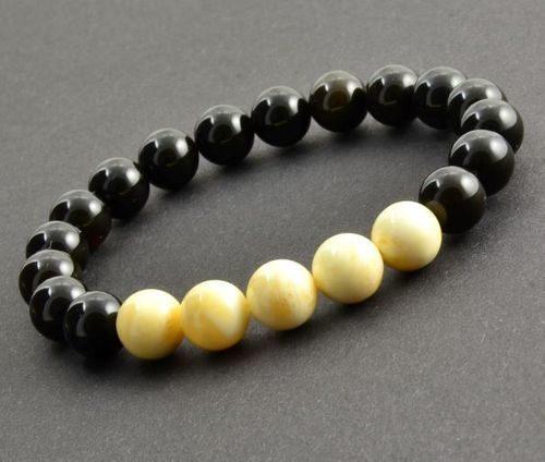 Men's Beaded Bracelet Made of Baltic Amber