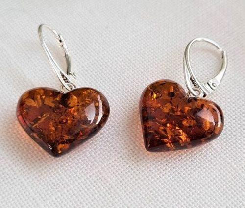 Amber Earrings Handmade of Precious Healing Baltic Amber