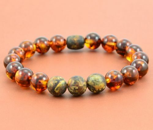 Men's Beaded Bracelet Made of Polished and Matte Baltic Amber
