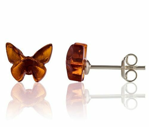 Amber Butterfly Stud Earrings Made of Precious Baltic Amber