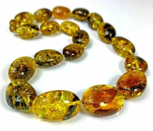 Amber Necklace Made of Precious Multicolor Baltic Amber