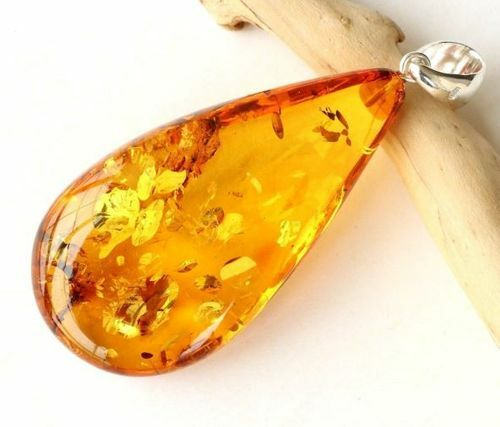 Large Amber Pendant Made of Precious Baltic Amber