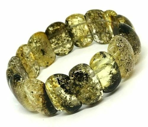 Baltic Amber Bracelet Made of Greenish Baltic Amber