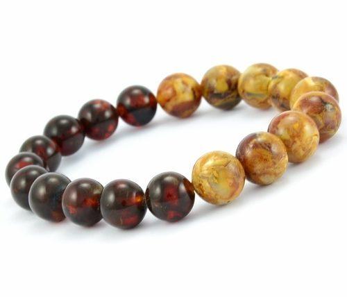 Men's Bead Bracelet Made of Precious Healing Baltic Amber