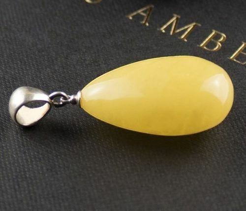 Amber Pendant Made of Precious Butterscotch Baltic Amber