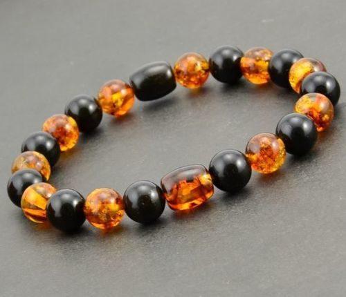 Men's Beaded Bracelet Made of Healing Precious Amber