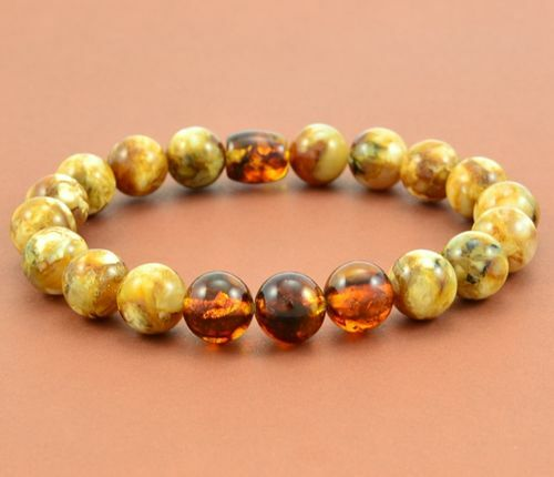 Men's Beaded Bracelet Made of Amazing Healing Baltic Amber