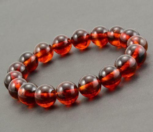 Men's Beaded Bracelet Made of Precious Healing Amber
