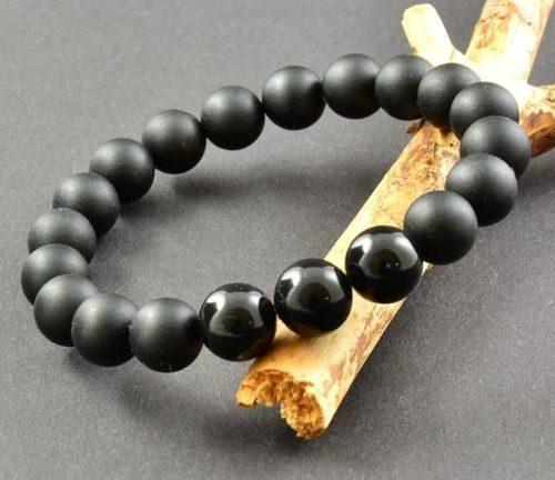 Men's Beaded Bracelet Made of Matte and Polished Black Amber