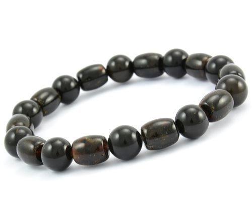 Men's Black Beaded Bracelet Made of Precious Healing Amber
