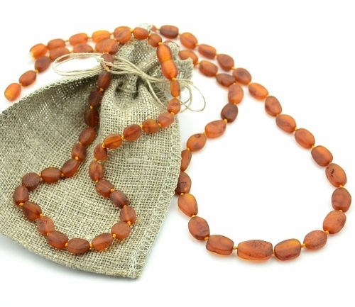 Raw amber teething necklace with perfect companion for Mom - SOLD OUT