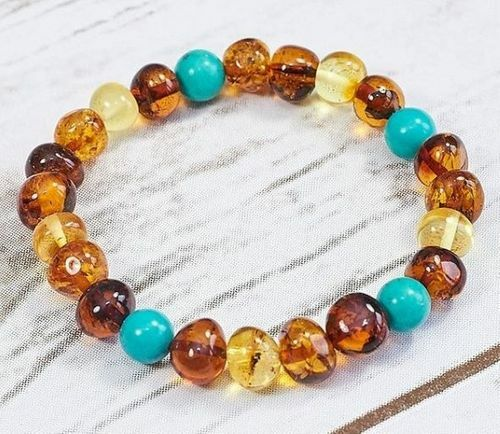 Amber Healing Bracelet Made of Baltic Amber and Turquoise