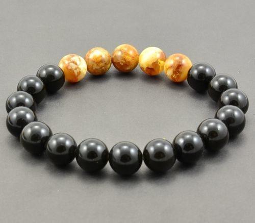 Beaded Bracelet for Men Made of Precious Healing Baltic Amber