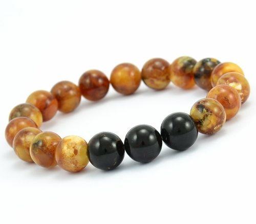 Beaded Bracelet for Men Made of Marble and Black Amber