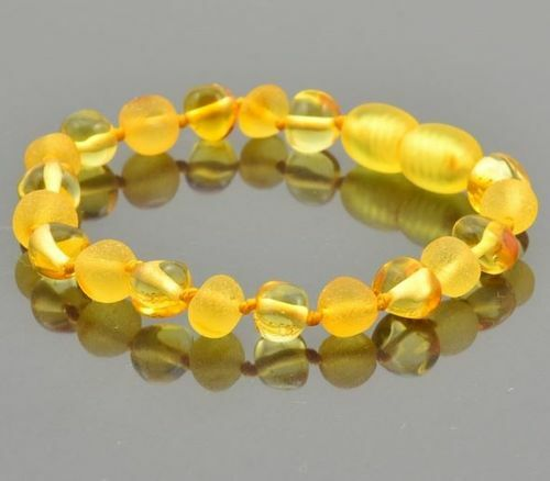Children's Amber Bracelet Made of Matte and Polished Baltic Amber