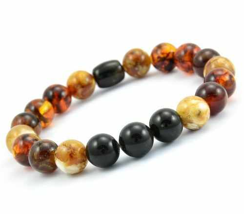 Men's Beaded Bracelet Made of Precious Baltic Amber
