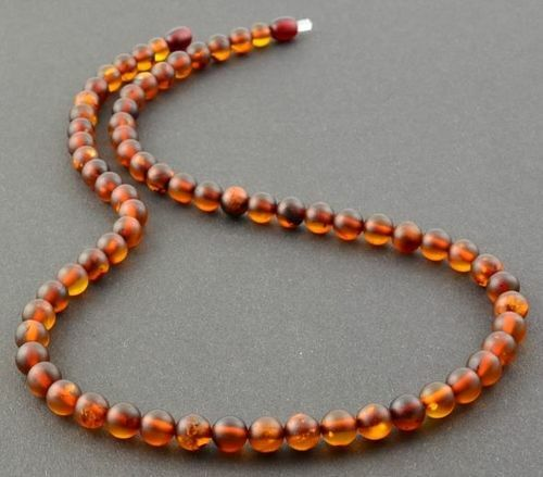 Men's Beaded Necklace Made of Matte Cognac Baltic Amber