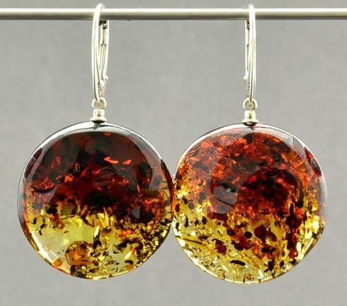 Amber Earrings Made of Flat Round Baltic Amber