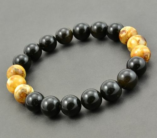 Men's Beaded Bracelet Made of Amazing Baltic Amber