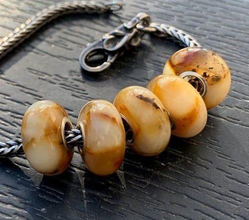 5 Pcs Wholesale Pandora Style Amber Charm Beads