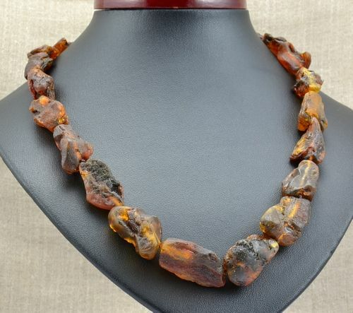 Raw Amber Necklace Made of Precious Healing Baltic Amber