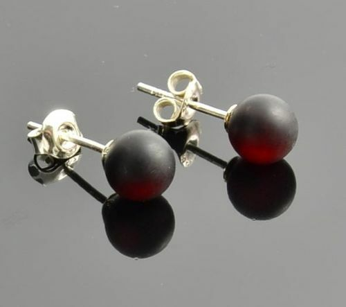 Amber Stud Earrings Made of Matte Cherry Baltic Amber.