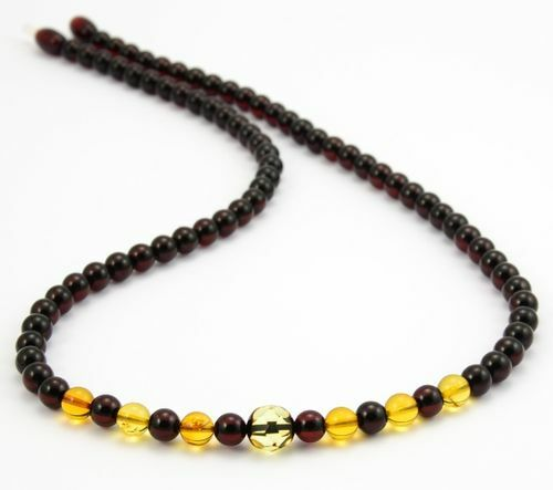 Men's Beaded Necklace with Amazing Baltic Amber