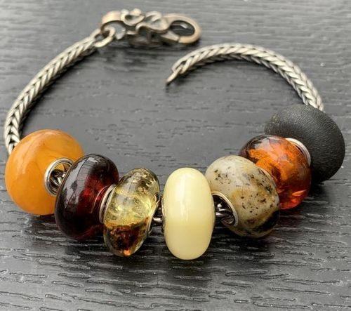 7 Pcs Wholesale Amber Pandora Style Charm Beads - SOLD OUT