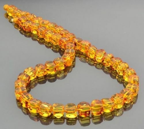 Amber Necklace Made of Cube Cut Baltic Amber