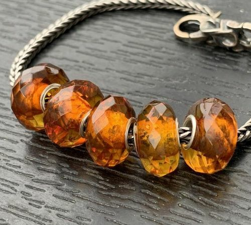 5 Pcs Wholesale Pandora Style Faceted Amber Charm Beads