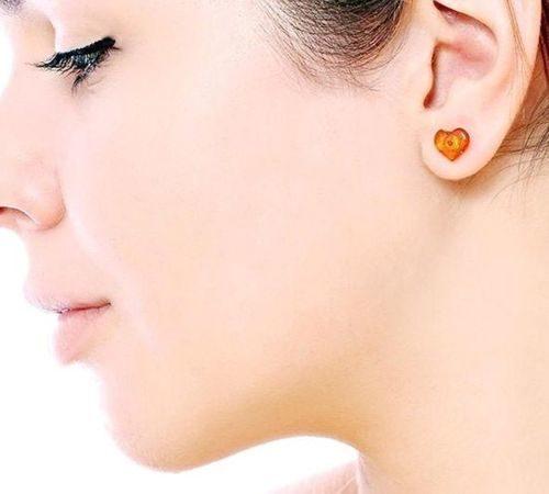 Amber Heart Stud Earrings Made of Precious Healing Baltic Amber